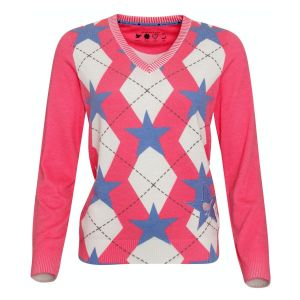 Girls Golf knitted sweater Rhombus  pink